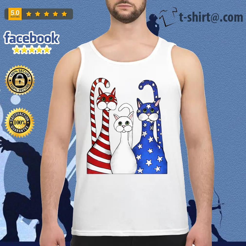 Cats red white and blue American flag Tank Top