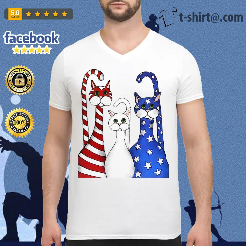 Cats red white and blue American flag V-neck T-shirt