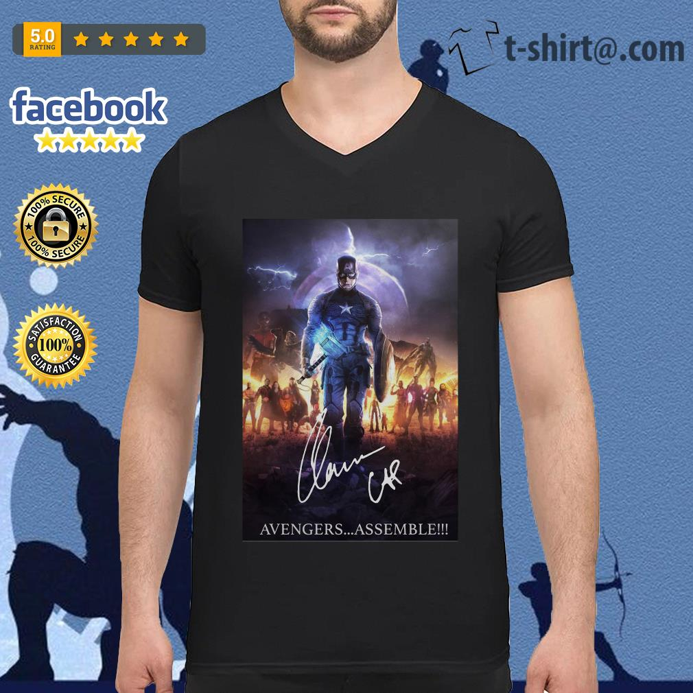 Chris Evans Captain America Avengers assemble signature V-neck-t-shirt