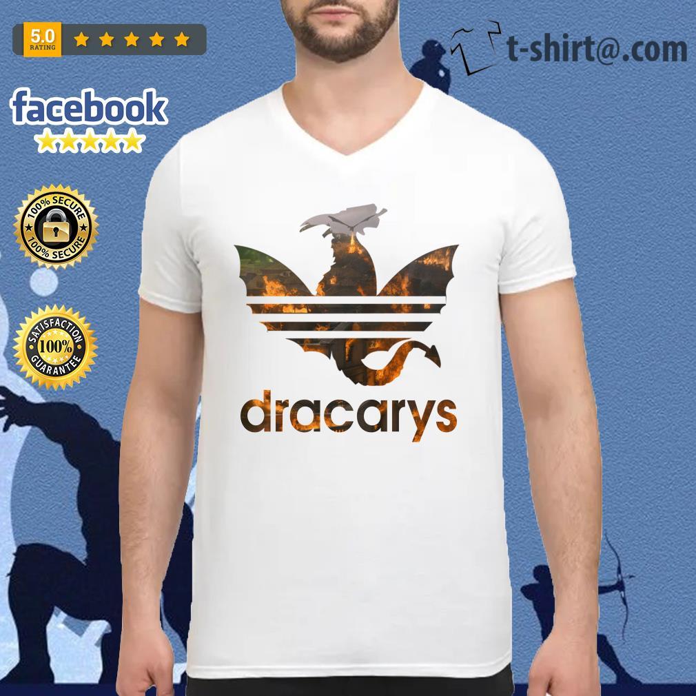 Drogon Dracarys fire adidas Game of Thrones V-neck T-shirt