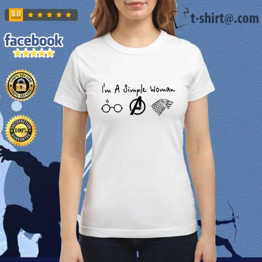 I'm a simple woman who loves Harry Potter Avenger and Game of Thrones Ladies Tee