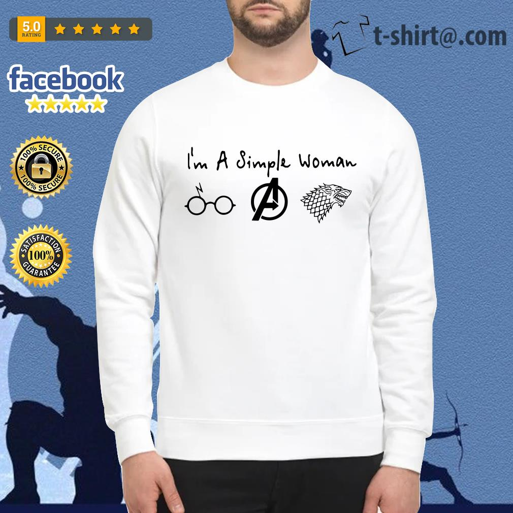 I'm a simple woman who loves Harry Potter Avenger and Game of Thrones Sweater