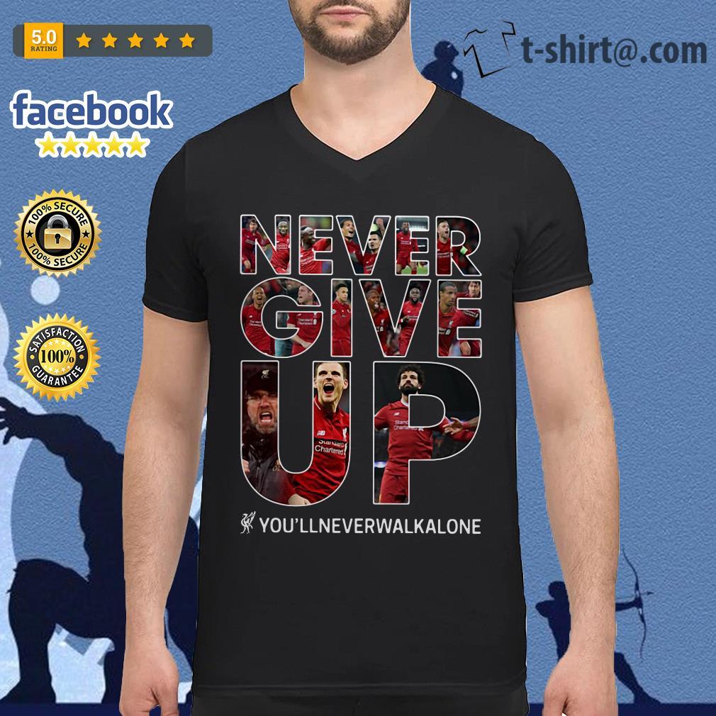 Mohamed Salah never give up you'll never walk alone V-neck T-shirt