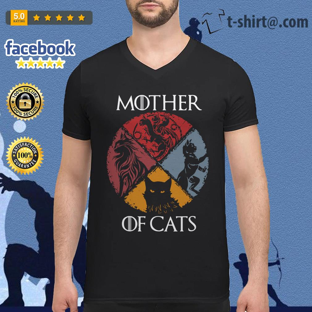Mother of cats vintage Game of Thrones V-neck T-shirt