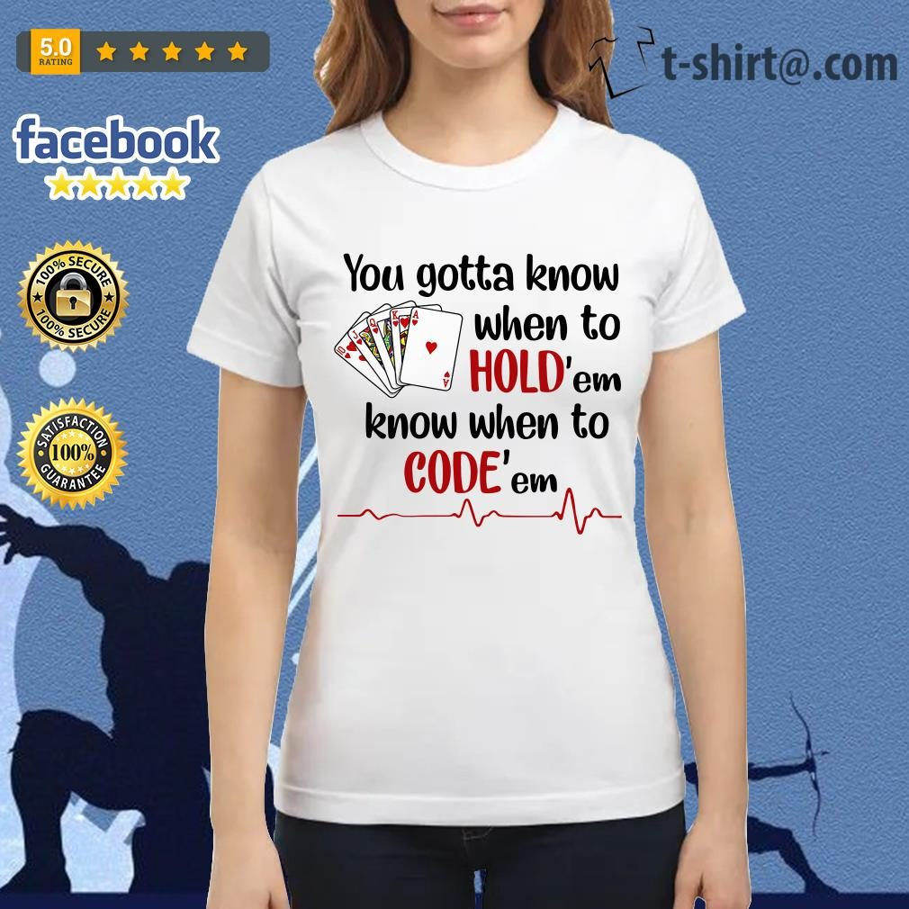 Nurse play cards you gotta know when to hold'em know when to code'em Ladies Tee