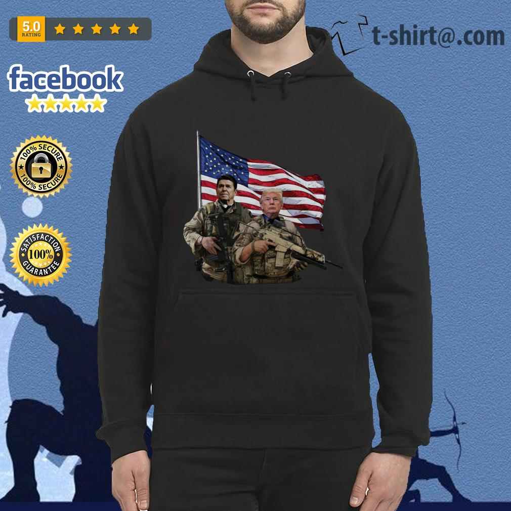 Presidential soldiers Ronald Reagan and Donald Trump USA flag Hoodie