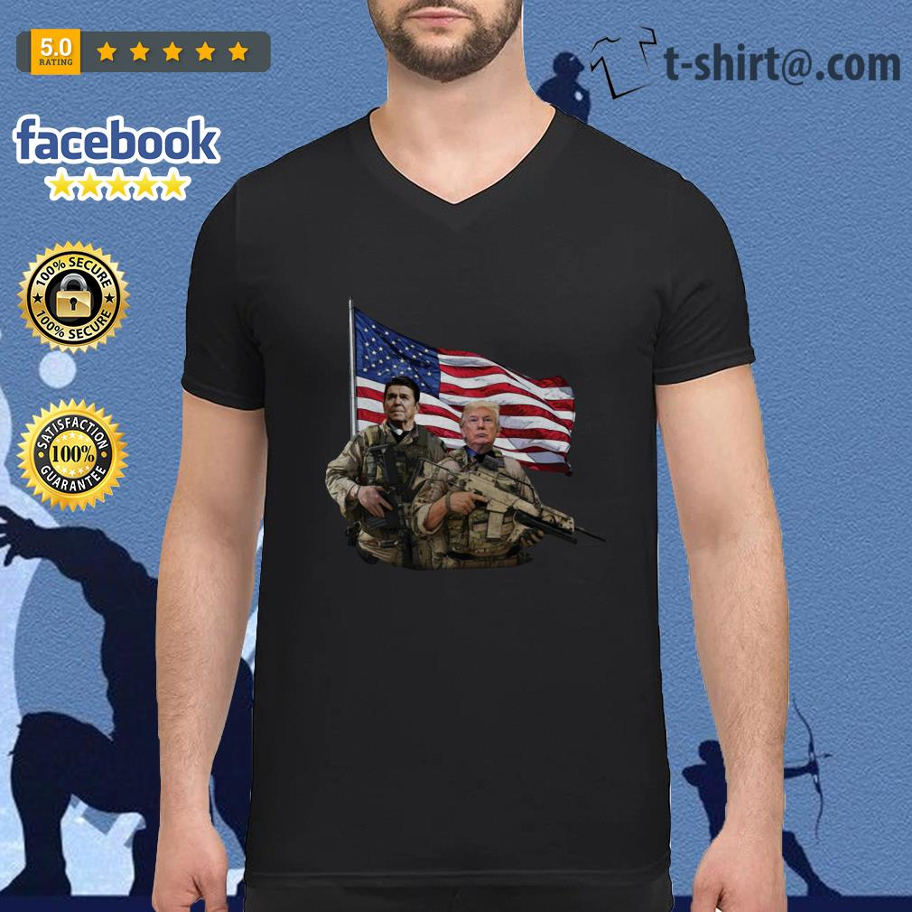 Presidential soldiers Ronald Reagan and Donald Trump USA flag V-neck-t-shirt