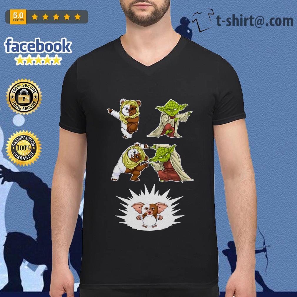 Star Wars Yoda Ewok and Gizmo fusion dance V-neck T-shirt