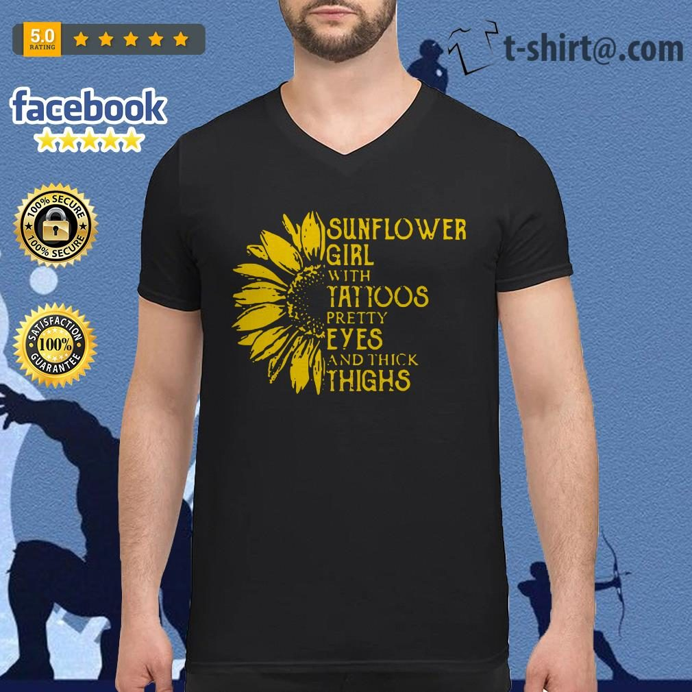99b4f4c9 Sunflower girl with tattoos pretty eyes and thick thighs V-neck T-shirt