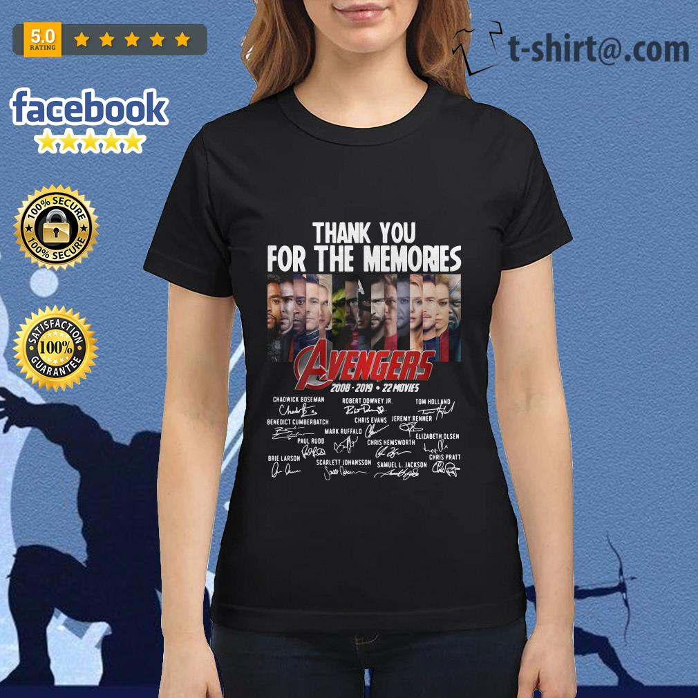 Thank you for the memories Avengers 2008-2019 22 movies signature Ladies-tee