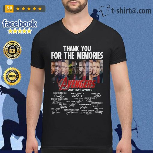 Thank you for the memories Avengers 2008-2019 22 movies signature V-neck T-shirt