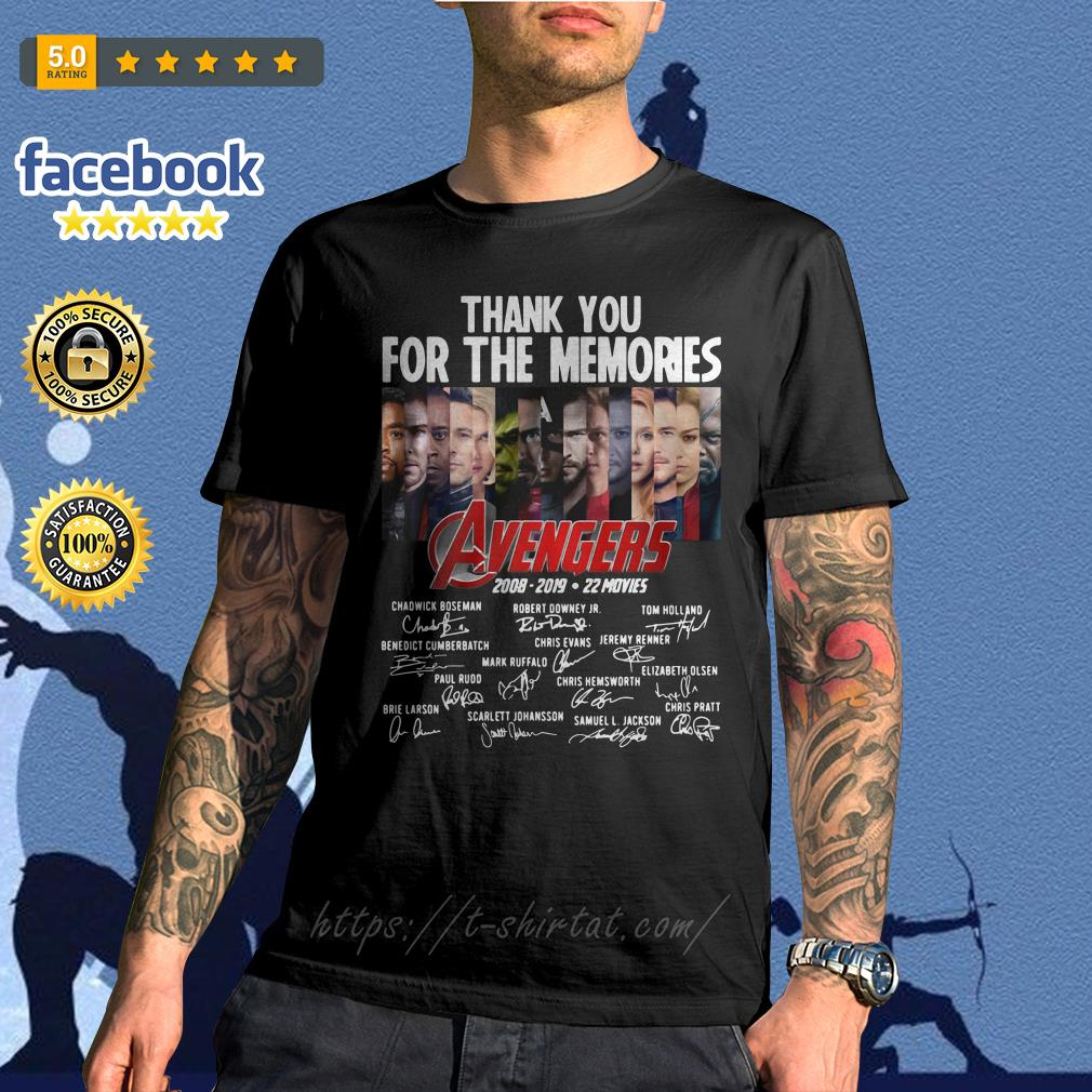 Thank you for the memories Avengers 2008-2019 22 movies signature shirt