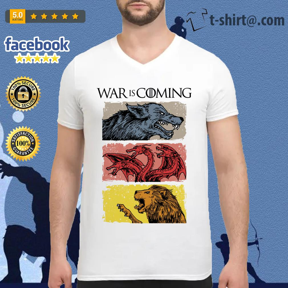War is coming sublimation dryfit Game of Thrones V-neck T-shirt