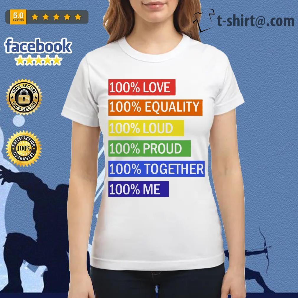 100% Love 100% equality 100% loud 100% proud 100% together 100% me Ladies Tee