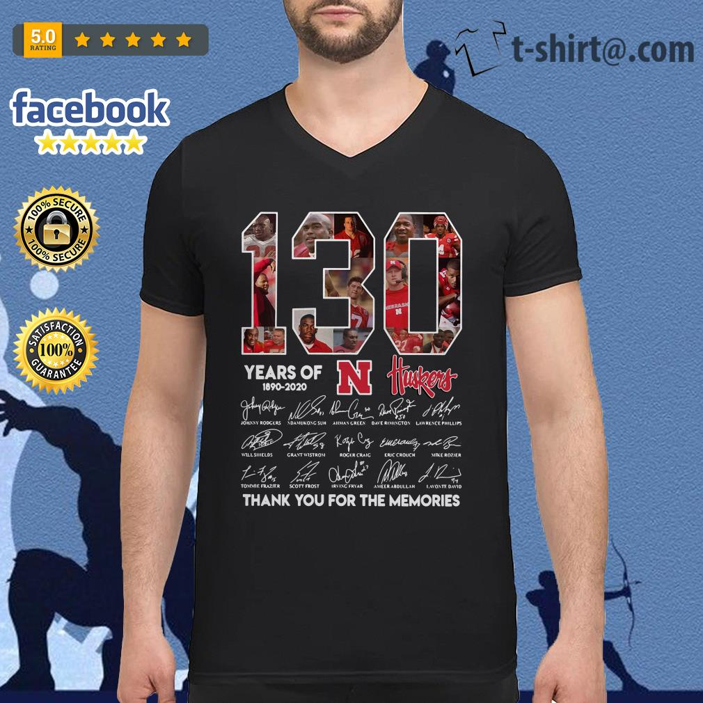 130 Years of Huskers 1890-2020 thank you for the memories signature V-neck T-shirt