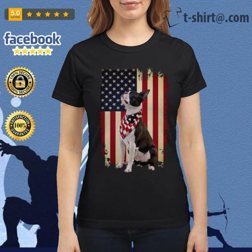 4th July Independence day Boston terrier American flag Ladies Tee