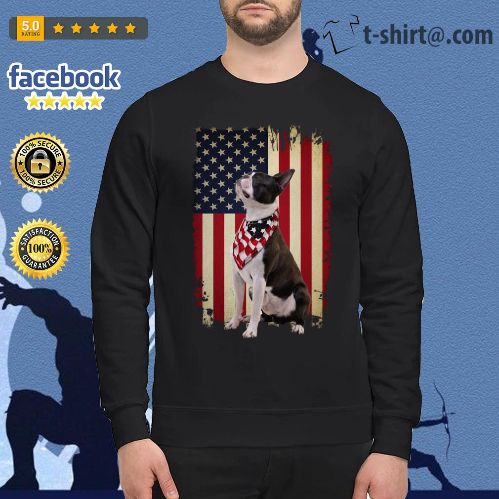 4th July Independence day Boston terrier American flag Sweater