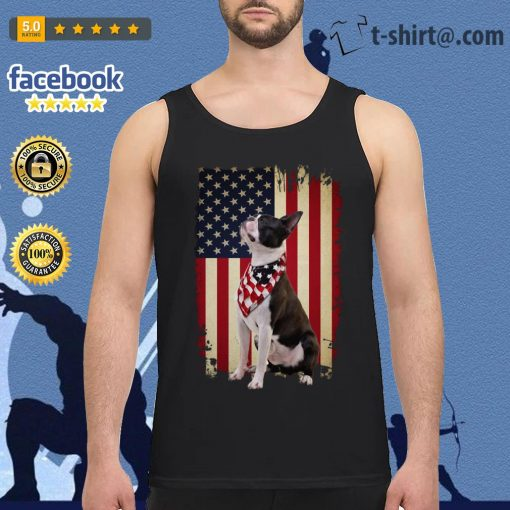 4th July Independence day Boston terrier American flag Tank Top