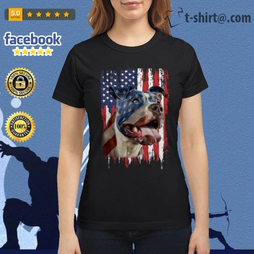 4th July Independence day Pitbull American flag Ladies Tee