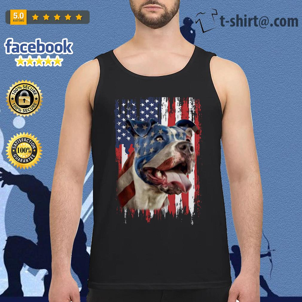 4th July Independence day Pitbull American flag Tank Top