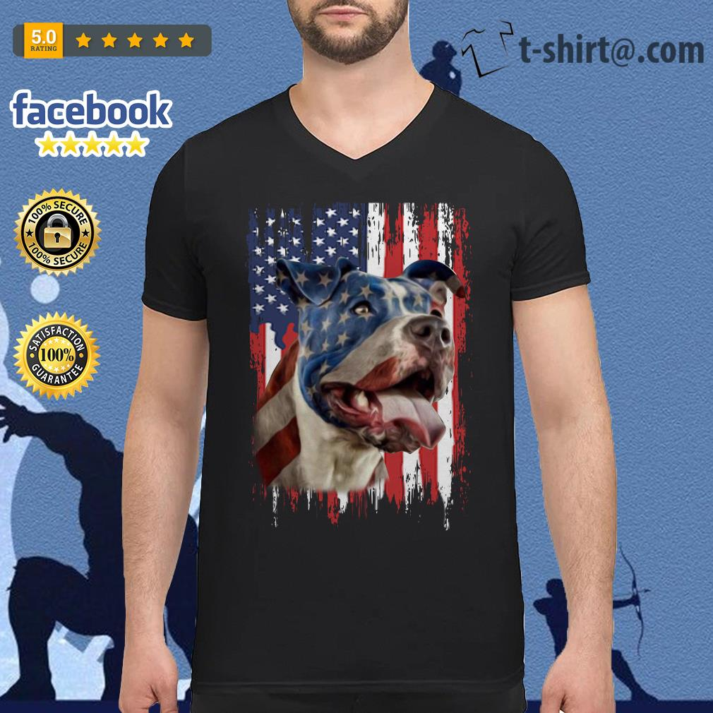 4th July Independence day Pitbull American flag V-neck T-shirt