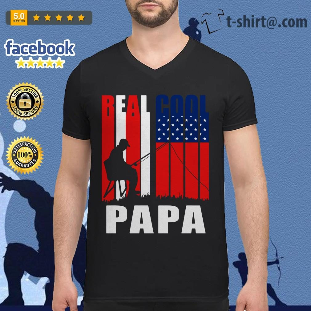 4th July independence day real cool Papa fishing lover V-neck t-shirt