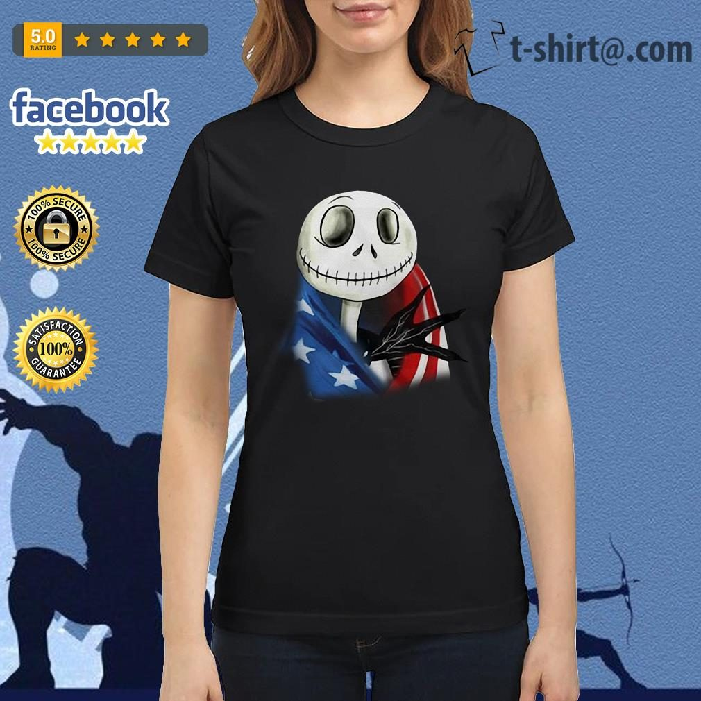 4th July independence day Skellington capes American flag Ladies-tee