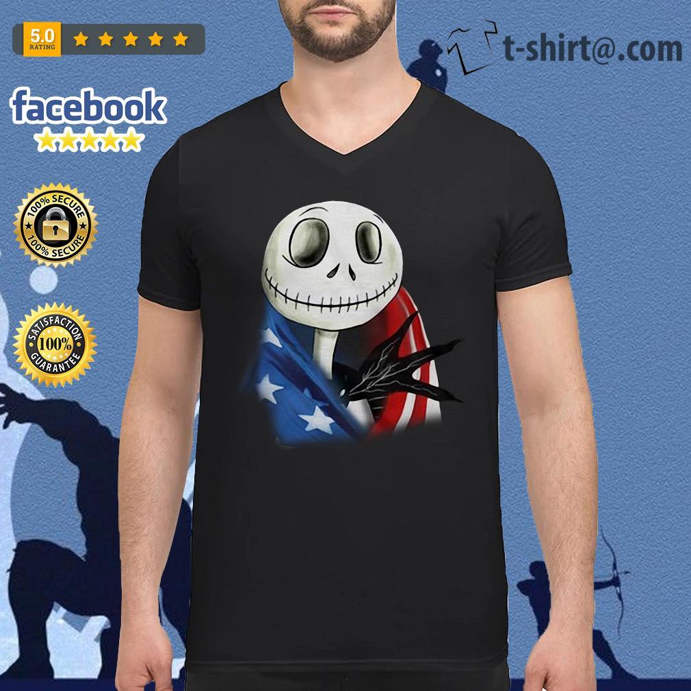 4th July independence day Skellington capes American flag V-neck t-shirt