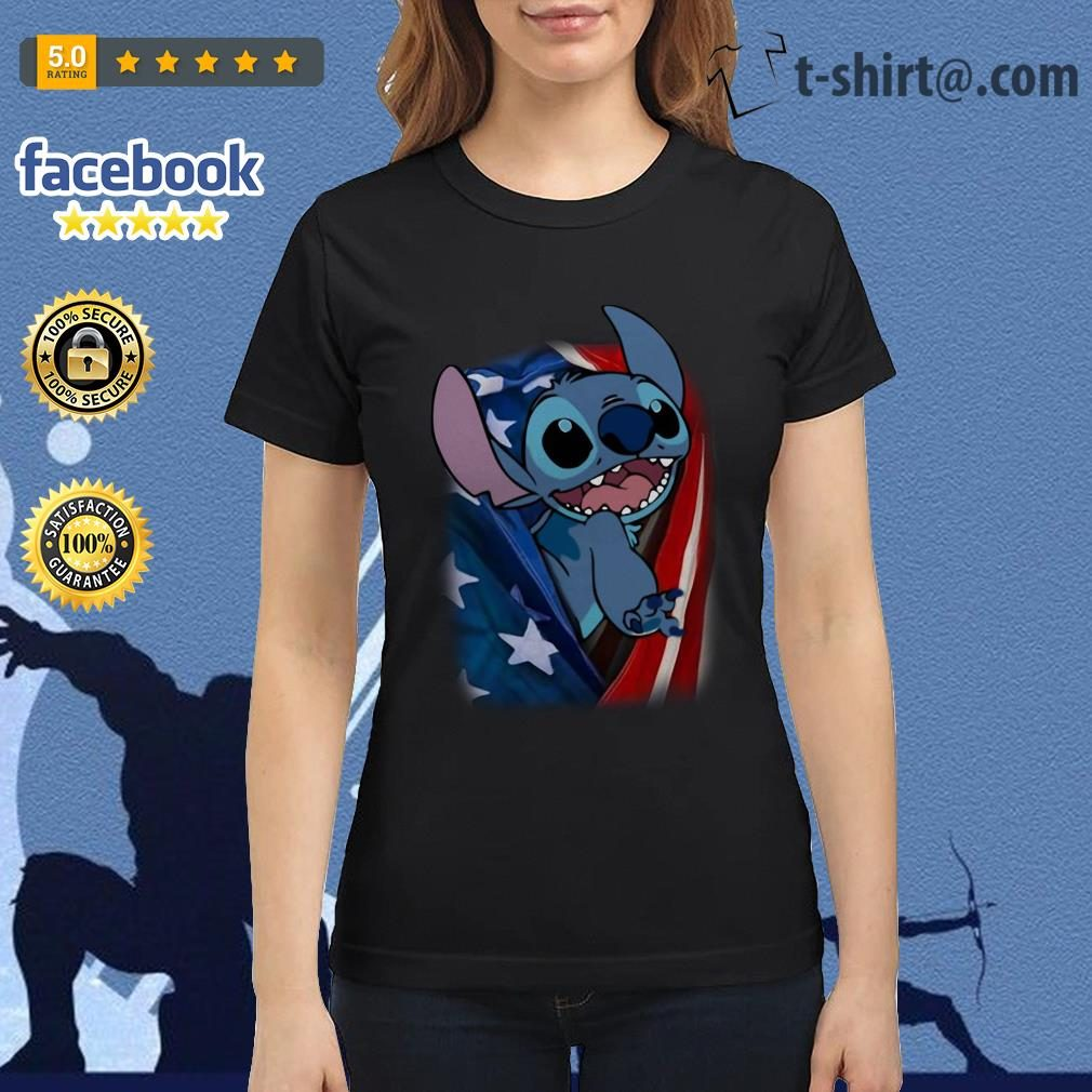 4th July independence day stitch capes American flag Ladies tee