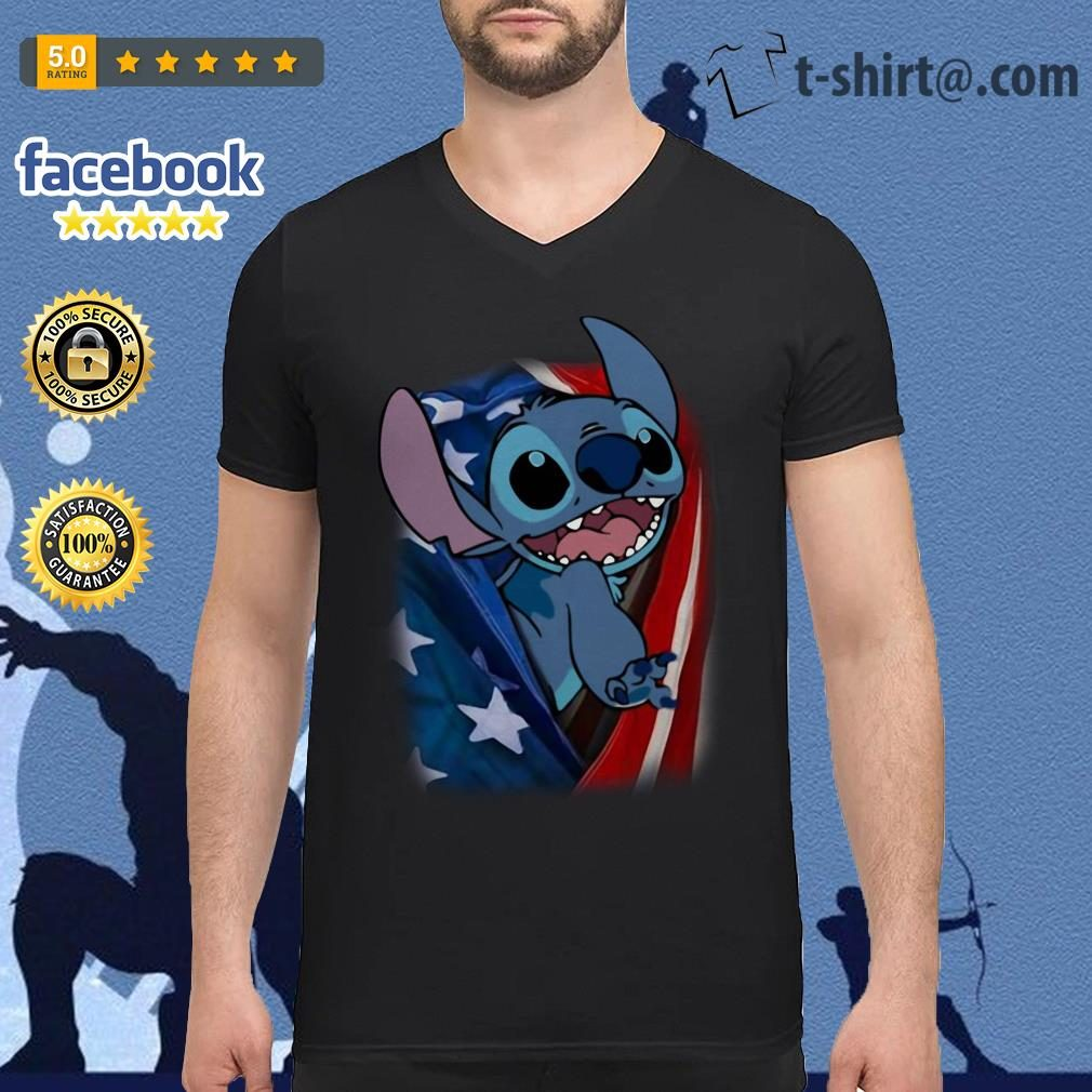 4th July independence day stitch capes American flag V-neck t-shirt