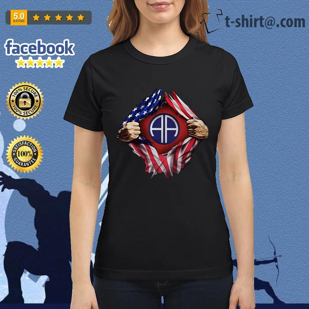 4th Of July independence day Army Airborne blood inside me Ladies Tee