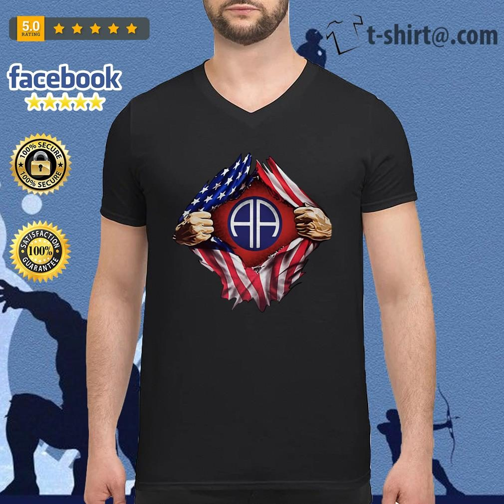 4th Of July independence day Army Airborne blood inside me V-neck T-shirt