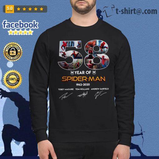 58 Year of Spider Man 1962-2020 signature Sweater