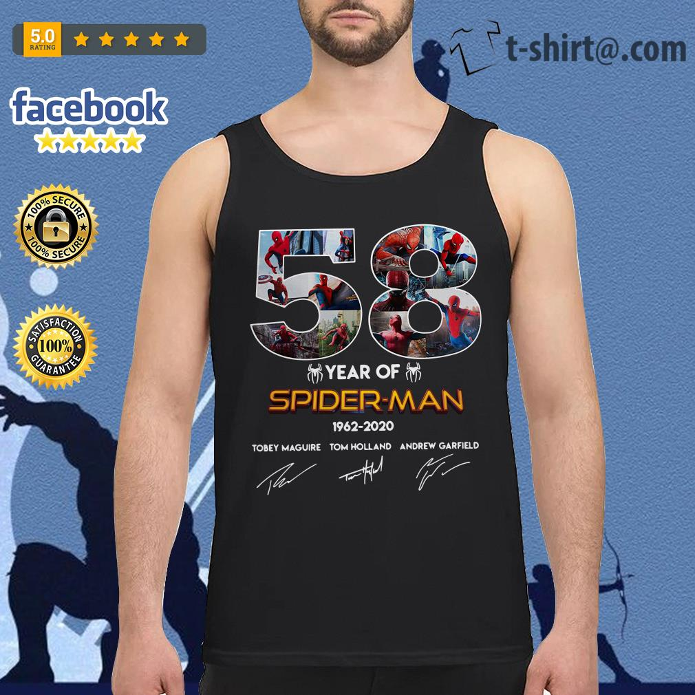 58 Year of Spider Man 1962-2020 signature Tank top