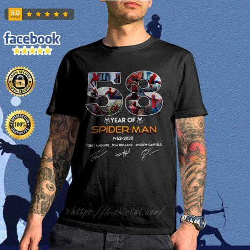 58 Year of Spider Man 1962-2020 signature shirt