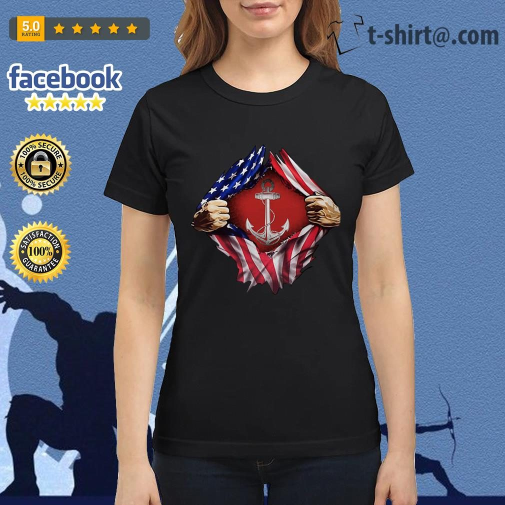 Anchor blood inside me 4th of July independence day Ladies Tee