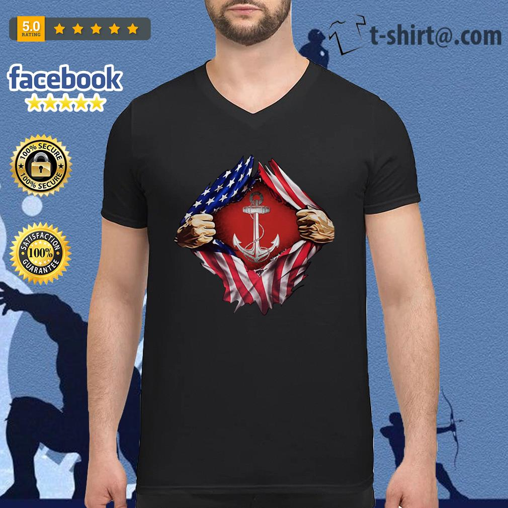 Anchor blood inside me 4th of July independence day V-neck T-shirt