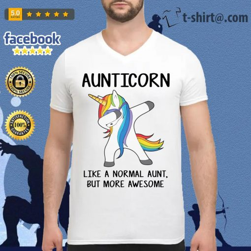 Aunticorn like a normal aunt but more awesome V-neck T-shirt