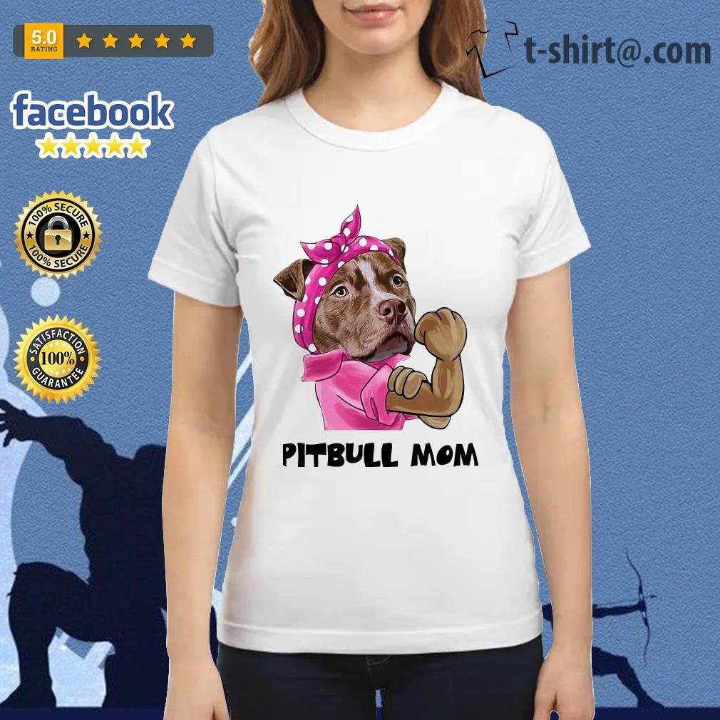 Bandana pink Pitbull mom strong mom Ladies Tee