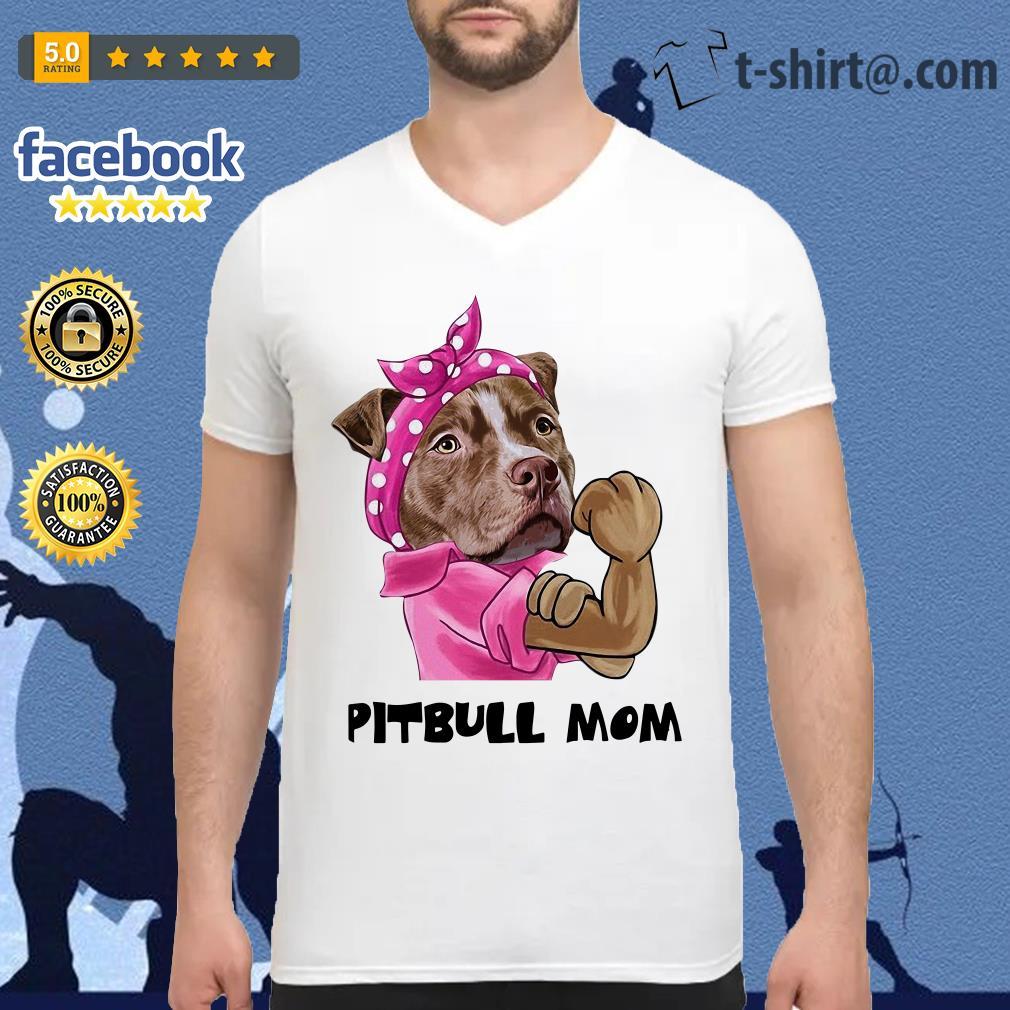 Bandana pink Pitbull mom strong mom V-neck T-shirt