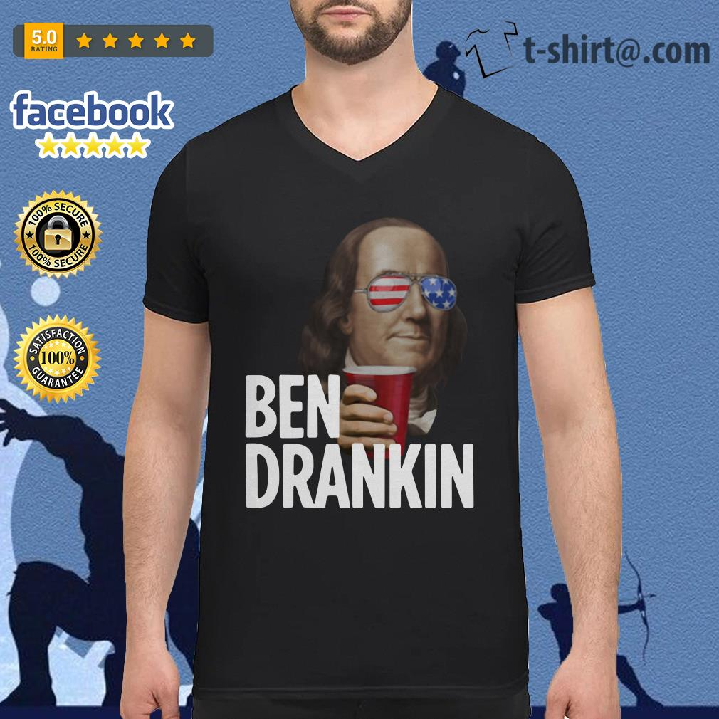 Ben Drankin Benjamin Franklin 4th of July independence day V-neck T-shirt