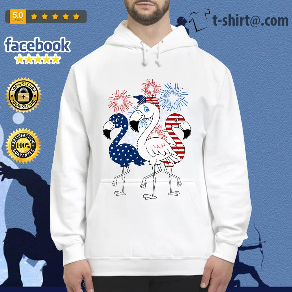 Flamingos blue white and red 4th of July independence day Hoodie