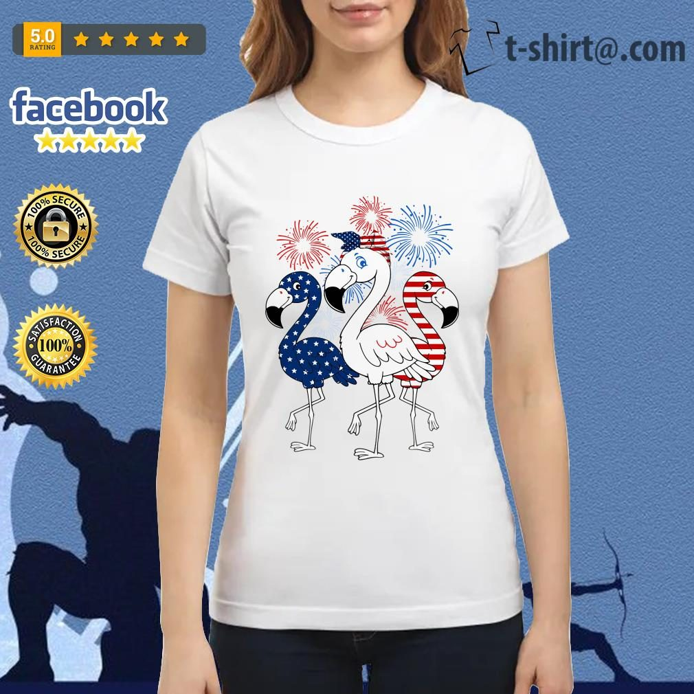 Flamingos blue white and red 4th of July independence day Ladies Tee