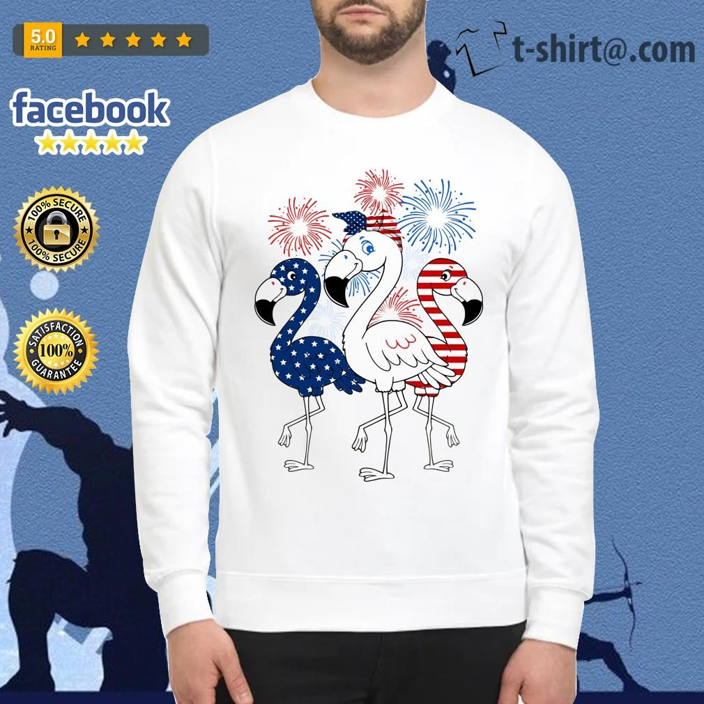 Flamingos blue white and red 4th of July independence day Sweater