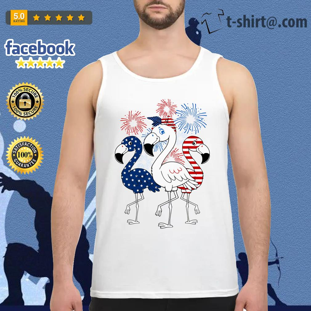 Flamingos blue white and red 4th of July independence day Tank top