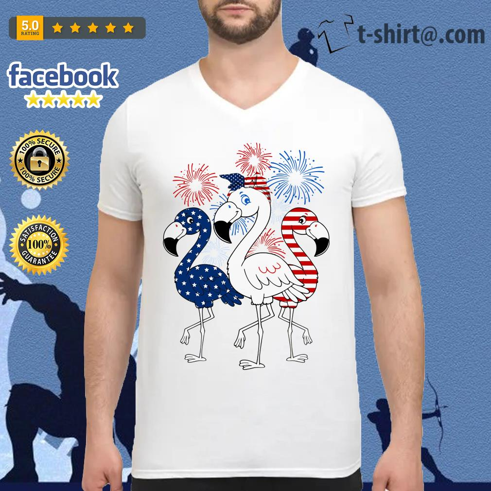 Flamingos blue white and red 4th of July independence day V-neck T-shirt