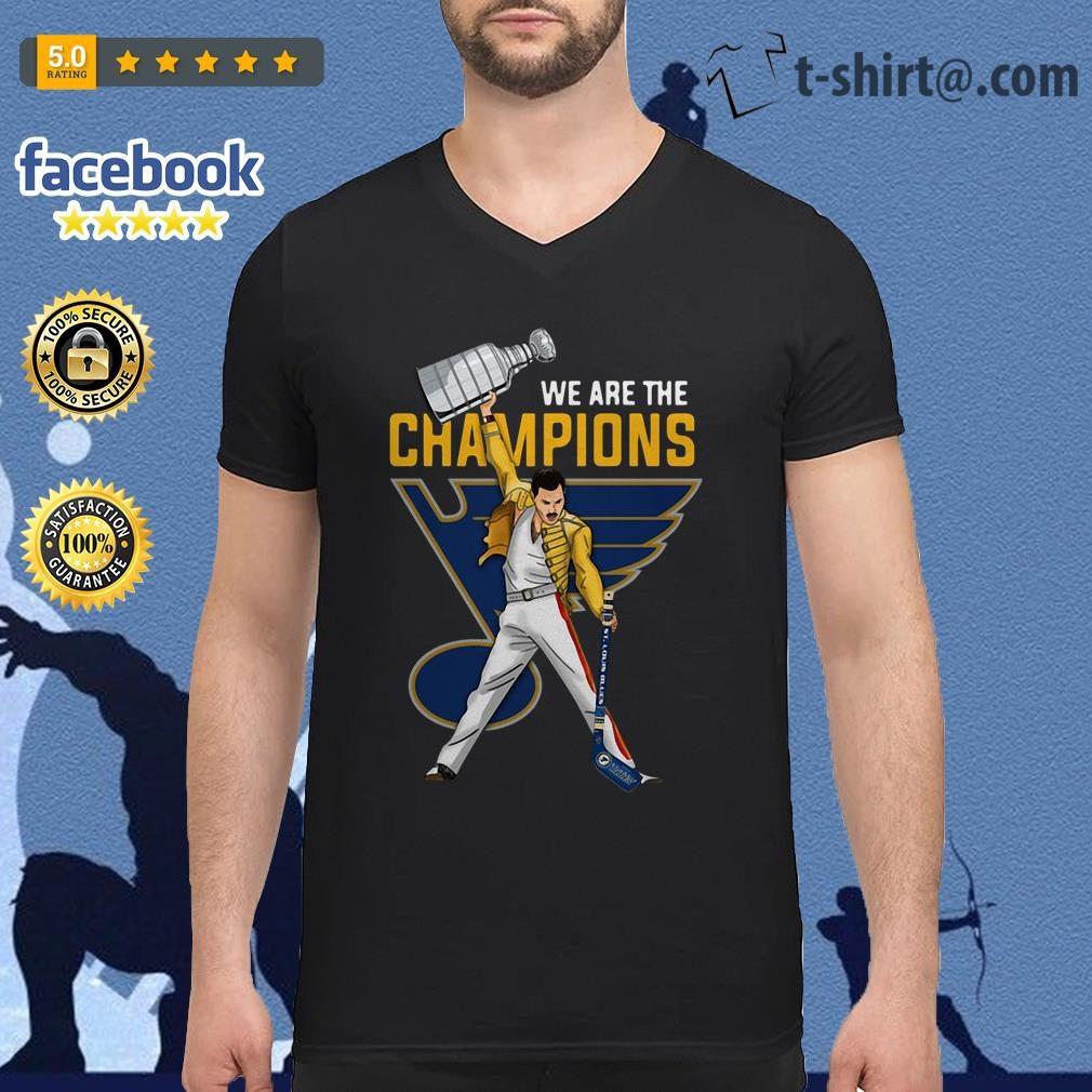 70bf1d2dd4a6 Freddie Mercury St. Louis Blues we are champions V-neck t-shirt