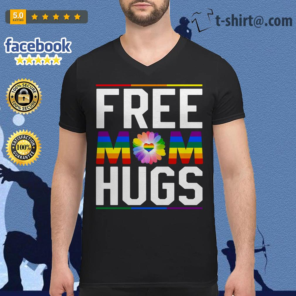 Free mom hugs pride LGBT V-neck T-shirt