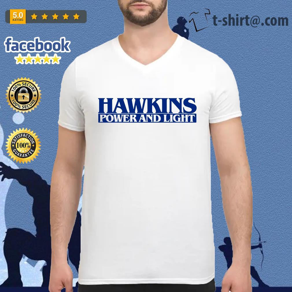 Hawkins power and light stranger things V-neck T-shirt