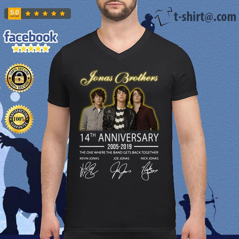 Jonas Brothers 14th anniversary 2005-2019 signature V-neck t-shirt